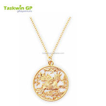 Beautiful gold chain custom pendant necklace with company logos