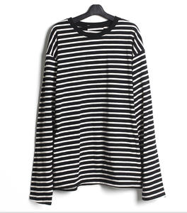 Korean Harajuku Black White Striped T-shirt Men's Loose Oversize Extra Long Sleeve T Shirts