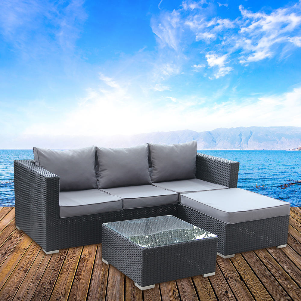 Modern Style L Shape Rattan Outdoor Furniture Modular Lounge Sofa Sets