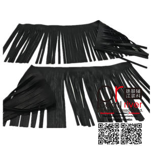 Bán buôn Đen Double sided leather tassel fringe trims cho ngành may mặc