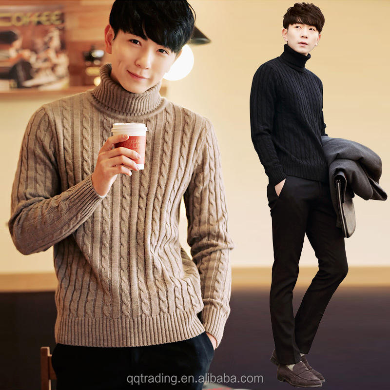 Wool Winter Autumn new style high neck pullover Hemp flowers mens latest knit sweater design