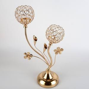 Gold Crystal Candle Holders / Two Heads Candle Candelabras,Coffee Table Decorative Centerpieces for Living Room/Dinning Room