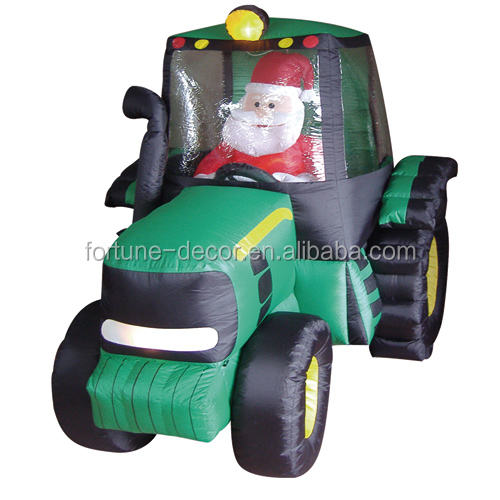 150cm/5ft inflatable air-blown santa claus toy driving a green car with internal lights for christmas decoration