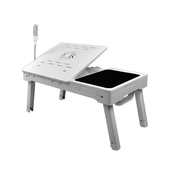 NBT-69B Portable Adjustable Folding Computer laptop table desk with CPU fan, hub, mouse pad and led light