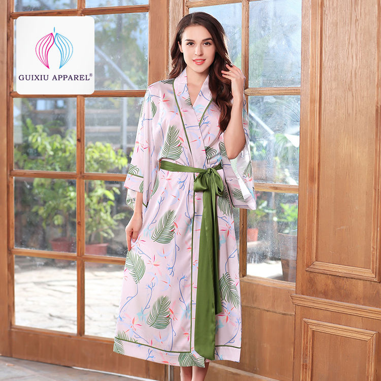 Silk sleeping printing dressing gown kimono full length silk cute robes