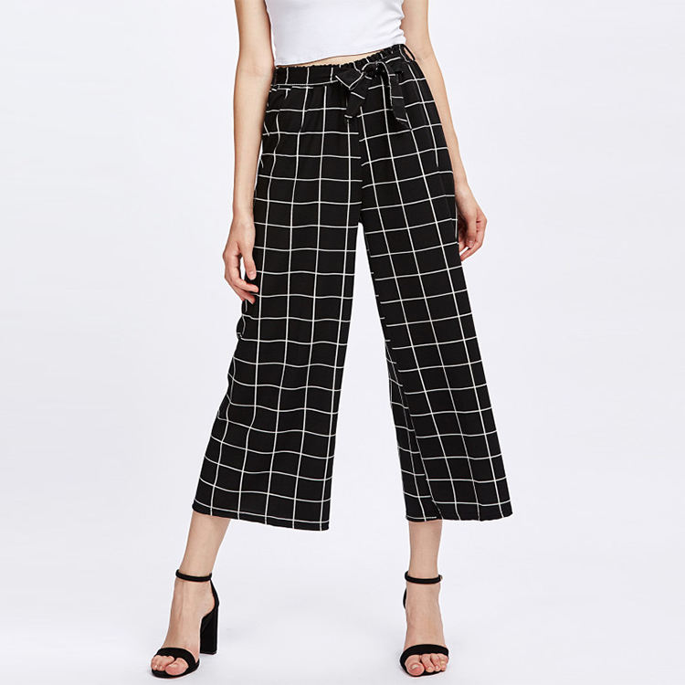 Commercio all'ingrosso di Estate Donne Tartan Plaid Nero Pantaloni