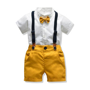 fashion gentleman kid boys clothes white short sleeve shirt + shorts casual Children baby boy clothing sets