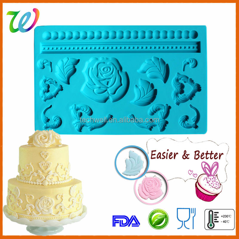 new rose wedding silicone mold for fondant