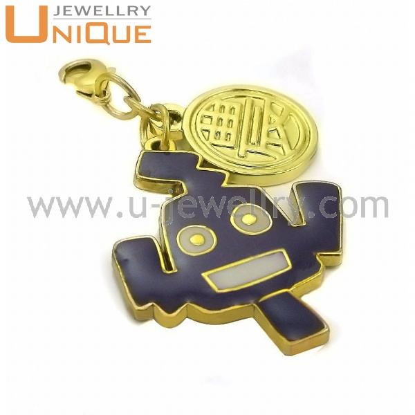 Enamel [ Charms ] Gold Lucky Charms With Black Enamel CH0110