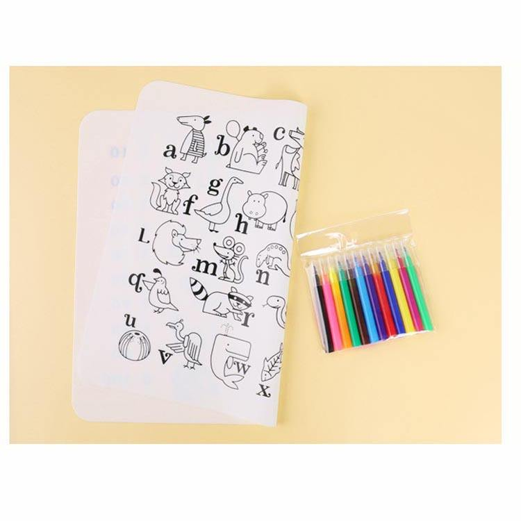 Silicone Doodle Mat Kids Placemat Coloring Drawing Mat Animal Alphabet Digital Washable Reusable Place Mat for Kids