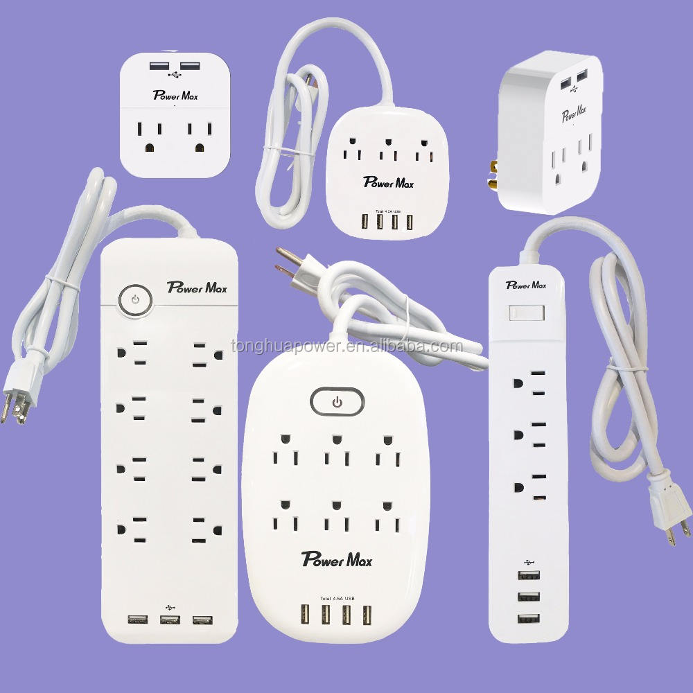 2018 HOT SELL USA AMERICA extension lead 10 Feet Surge Suppressor, Power Strips with 10 Outlets and 4 USB Ports