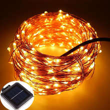 Outdoor Garden Waterproof Micro 50 100 Leds Solar Powered Copper Wire Fairy String Lights For Christmas