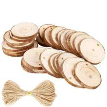 DIY sale solid wood rustic wedding favor large thin wooden wall decor oval craft 100 wood slices with bark