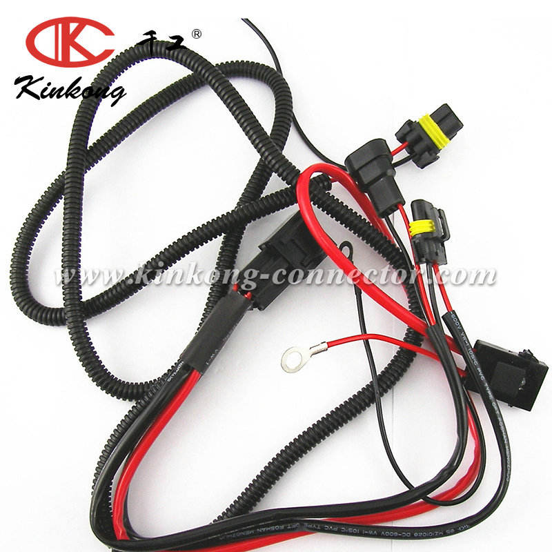 Custom HID Conversion female and male waterproof connector Kit Relay Wiring Harness