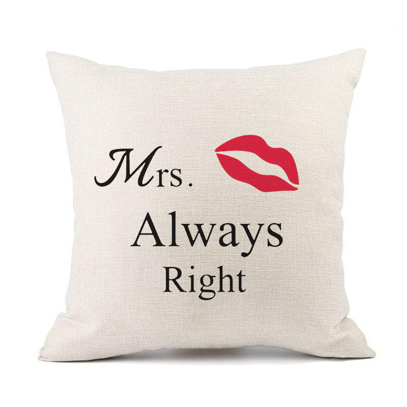 "Lips/ Beard/ High-heeled Shoes Printed, Valentine Pillowcase ""Mr Right"" & ""Mrs Always Right"" Couple Throw Pillow Cushion Cover"