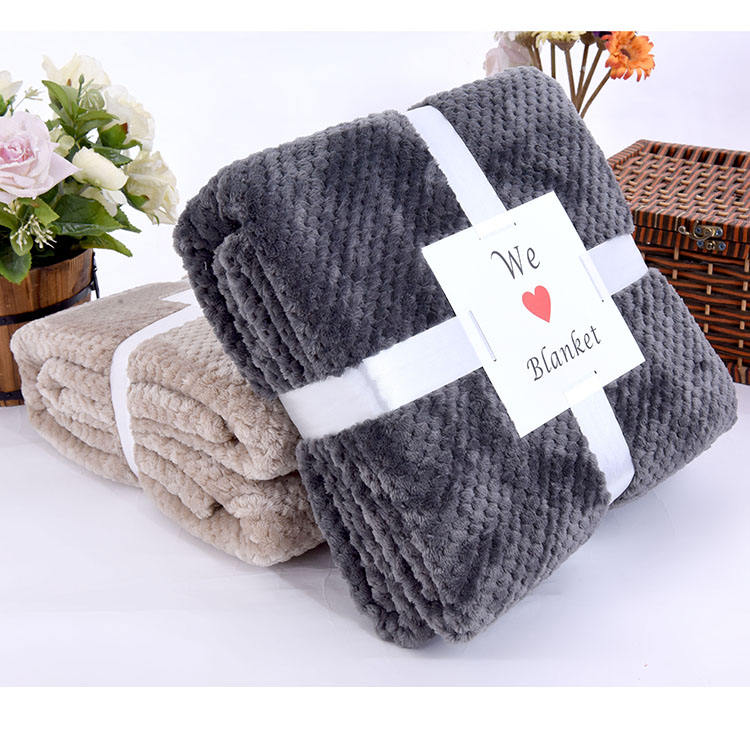 promotion super soft solid coral fleece soft mexican waffy blanket