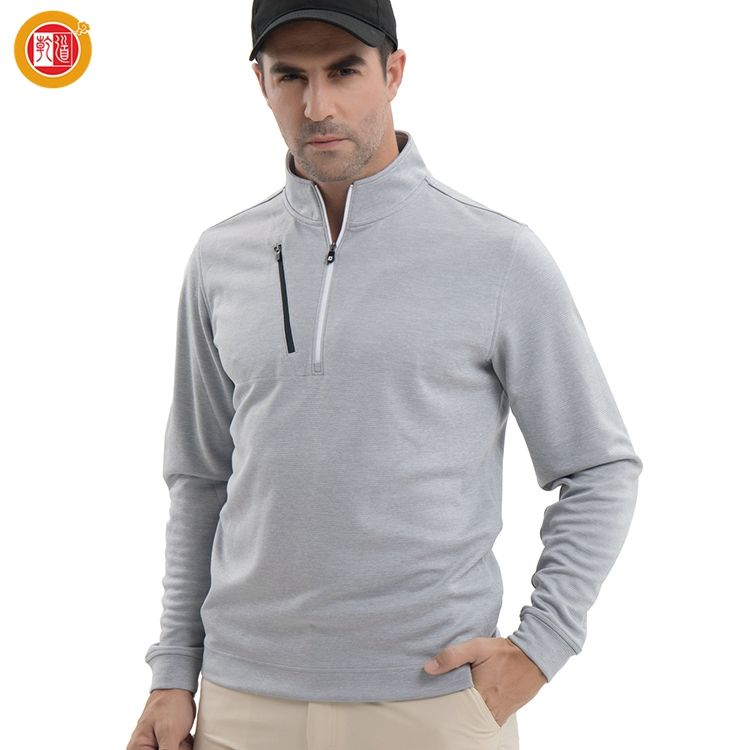 Men Customized Dry Fit Soft Fabric Golf Apparel Half Zip Long Sleeve Shirt Pullover