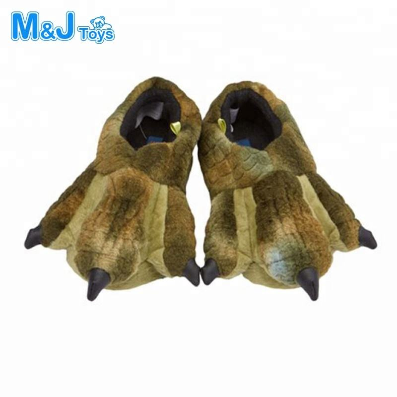 All Ages Plush Dinosaur Paw Slippers Casual Shoes Fuzzy Warm Soft Flexible Comfort Shoes
