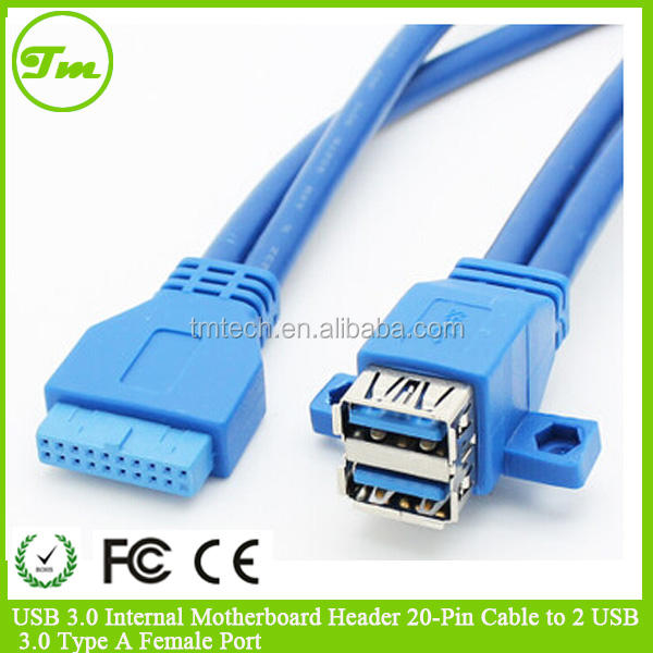 Cables Black /& Blue USB3.0 USB 3.0 Dual Ports Female Screw Mount Type to Motherboard 20pin Header Cable 20cm 30cm 0.2m 0.3m Cable Length: 20cm, Color: Black