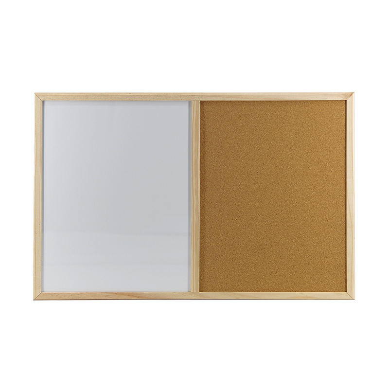 Magnetic White Cork Memo Board White Board Combination Board With Wooden Frame