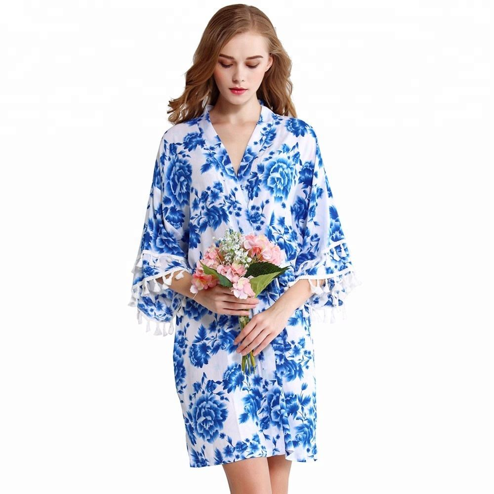 FUNG 3030 Blue Floral Print Rayon Cotton Robe With Tassels
