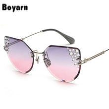 Oversized Luxury Crystal Decoration Rimless Sunglasses Women Fashion Gradient Cat Eye Shades UV400 2019 New Arrivals