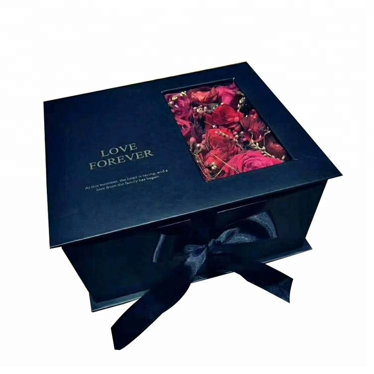 FSC Factory Luxury Clamshell PVC Window Flower Packaging Center Parting Gift Box with Ribbon