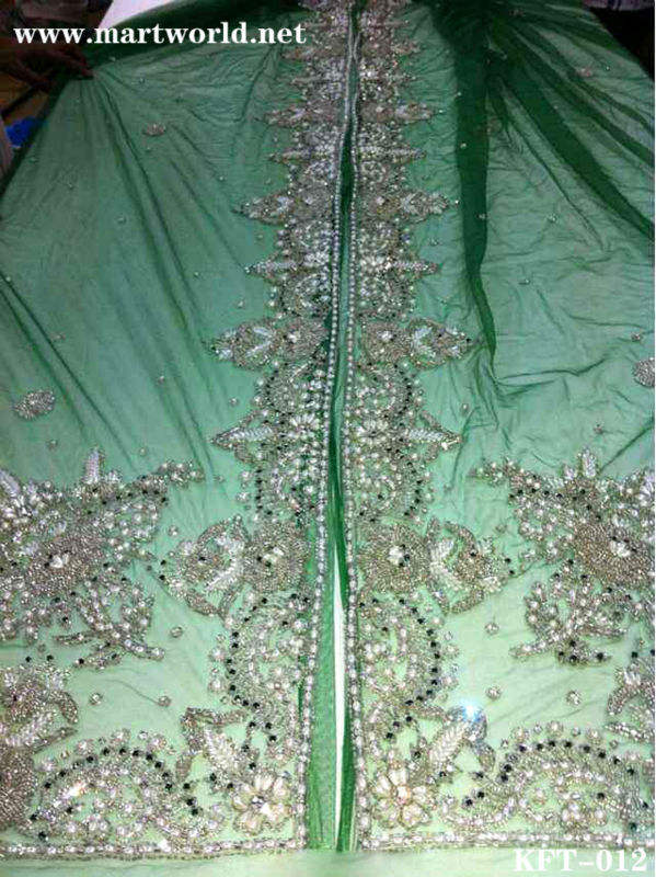 blue beaded Moroccan caftan fabric supplier (KFT-012)