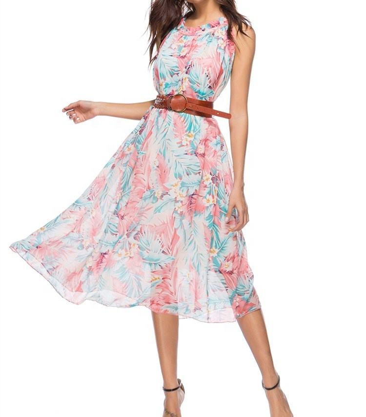 A3825 Turquoise Floral Print Wrap Dress summer Thailand beachwear spaghetti strap Dress