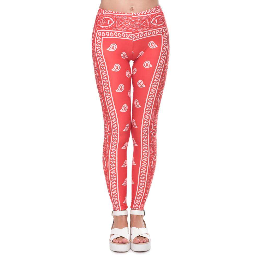 Athleisure Women Legging Fashion Fitness High Waist Women Pants Bandana Red Printing Summer Leggings