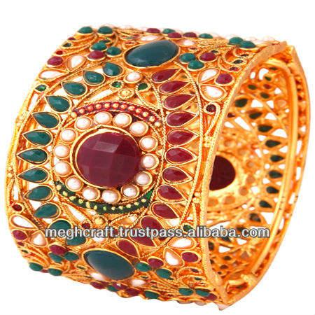 Indias tradicionales brazaletes Polki kundan Pulseras - Brazaletes Kada pulseras de diseño indio brazaletes pulseras