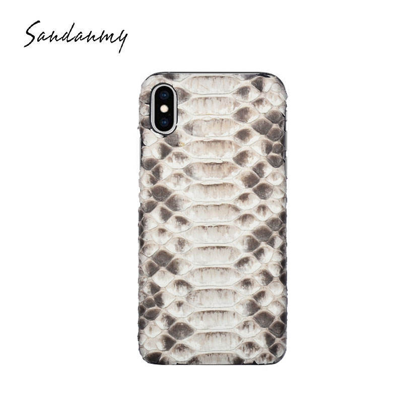 2019 latest luxury fashion natural Great Feel phone case for IPHONExs/max python leather case snake skin case white