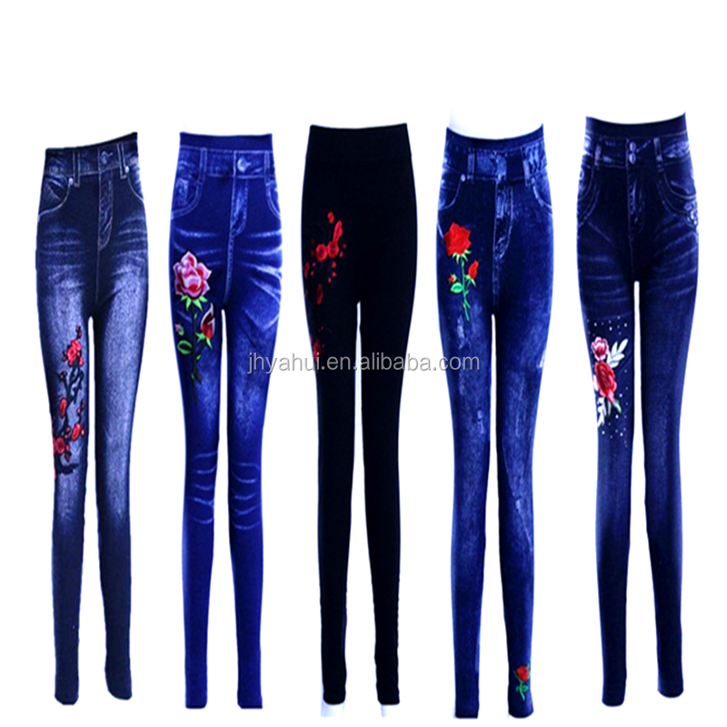 Fashion girls embroidery flower fake jeans legging