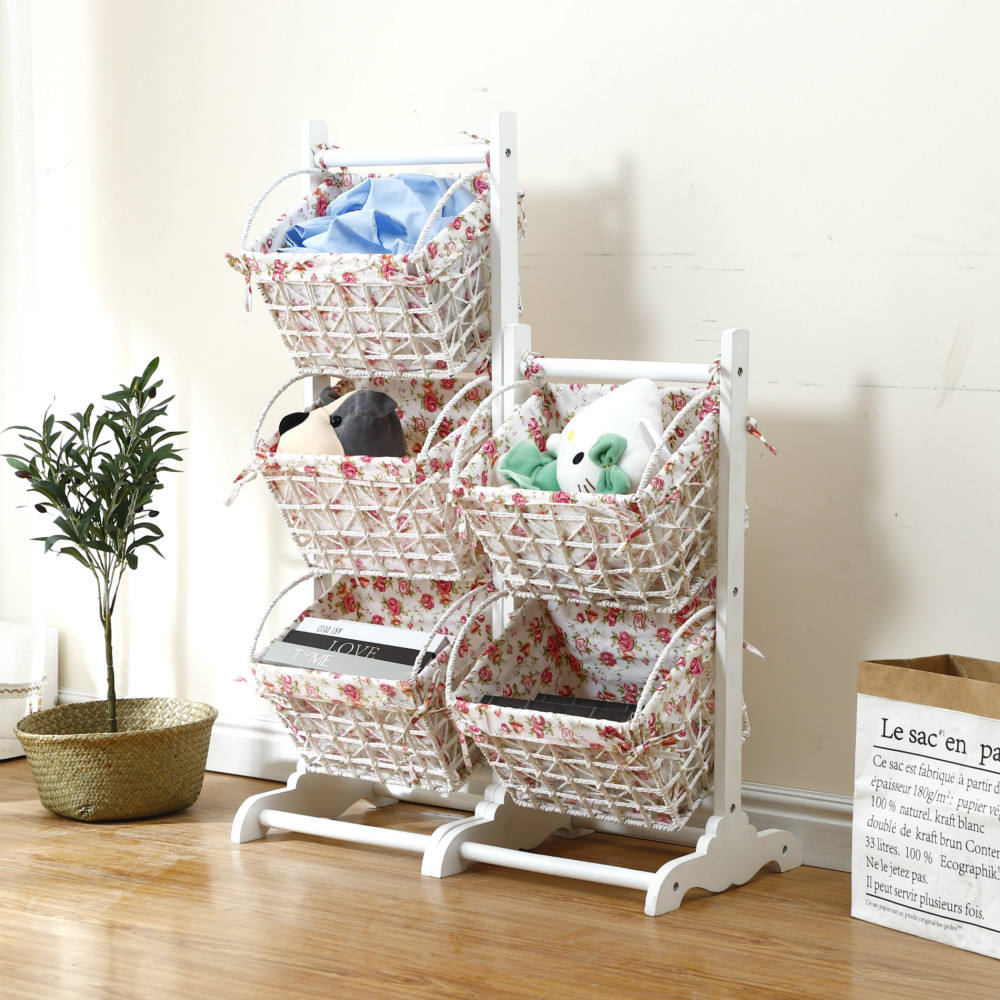 White Wooden Shelf Stand For Magazine Storage With Hanging Basket