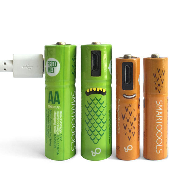 Unique Design 4Pack Micro USB Port AAA Battery 1.2V 1.5V 1000mAh AA Ni Mh lithium li-ion batteries rechargeable USB Battery Pack