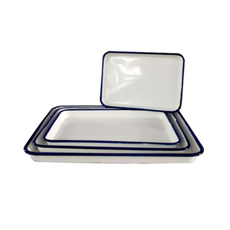 Colored oblong enamel serving tray