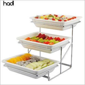 Hotel and restaurant supplies wholesale catering display melamine 3 tier party food display stand
