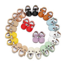 Hard Sole Genuine Leather T-bar Mary Jane Baby Girls Shoes Infants Toddler Baby Princess Ballet Shoes Newborn Crib Shoes