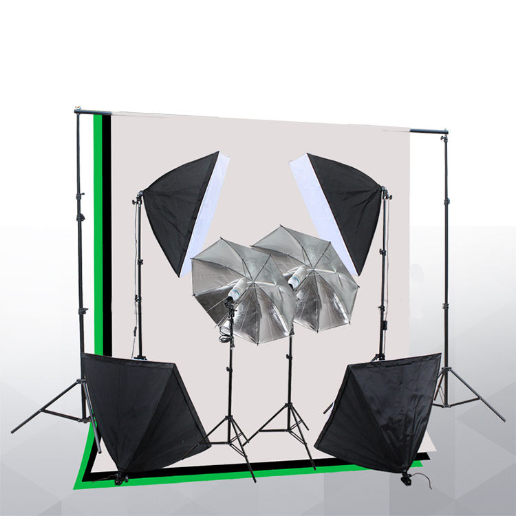 Photo Studio Continuous Lighting Kit with 2m*2m Background stand Photographic reflective umbrella and softboxes kit