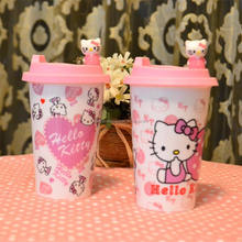 new hello kitty design ceramic pink cartoon travel mug with silicone lid