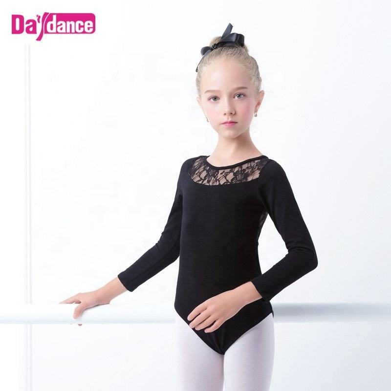 Long Sleeve Lace Cotton Gymnastics Leotards Ballet Dance Wear