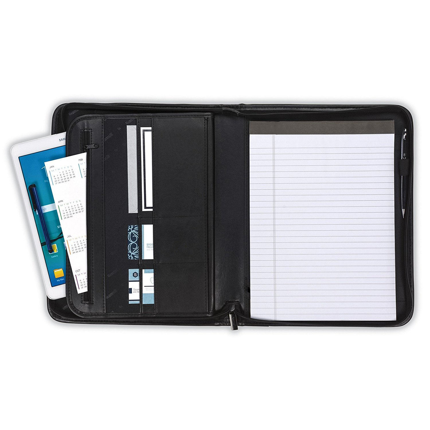 Zippered Padfolio A4 Business Conference Document Organizer File Folder PU Leather Portfolio
