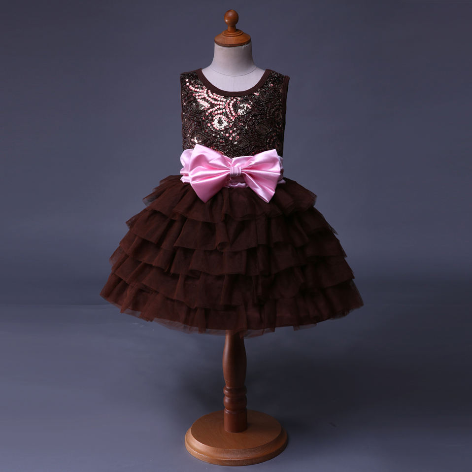fashion design small girls brown dress