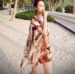 Vrouwen Tijger patroon chiffon blouse Tropische kimono vest bikini cover-up top swim