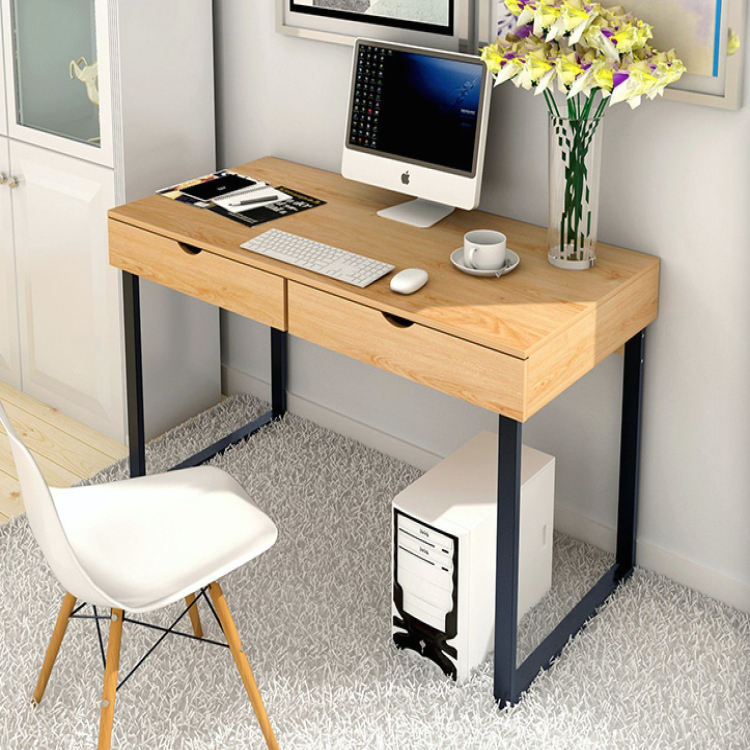 Modern Wooden Office Computer Desk Table with 2 Drawers