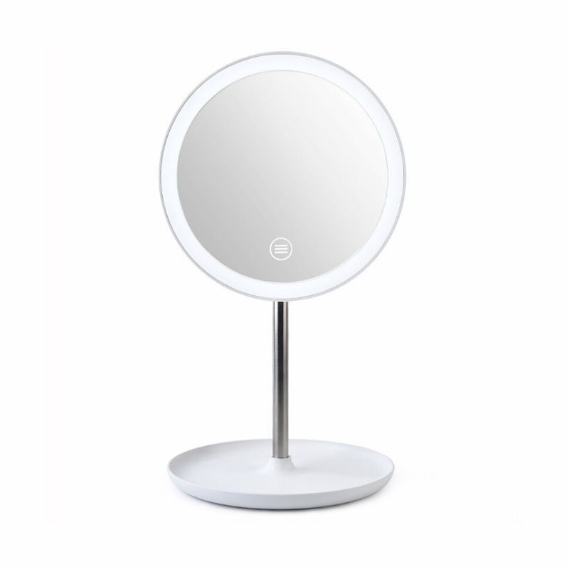 Hollywood smart mirror touch round make up cosmetic mirror with 3 color lights