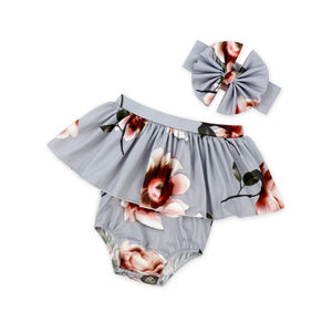 Wholesale Children's Sleeveless Clothes Floral Print Jumpsuit Baby Girl Romper