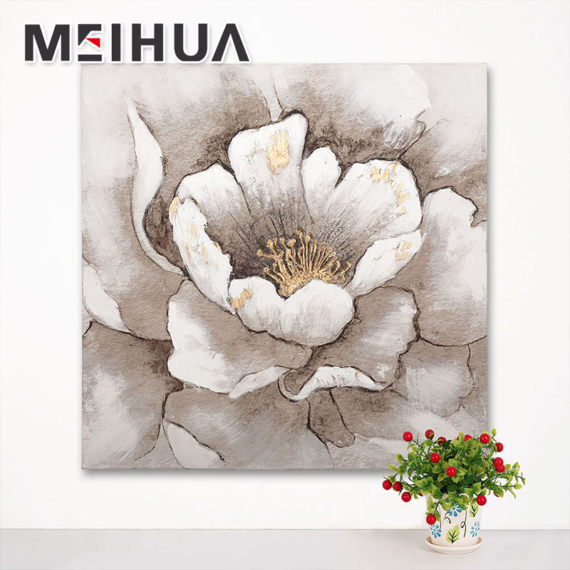 Good quality abstract flower design digital printing on canvas with gold oil painting