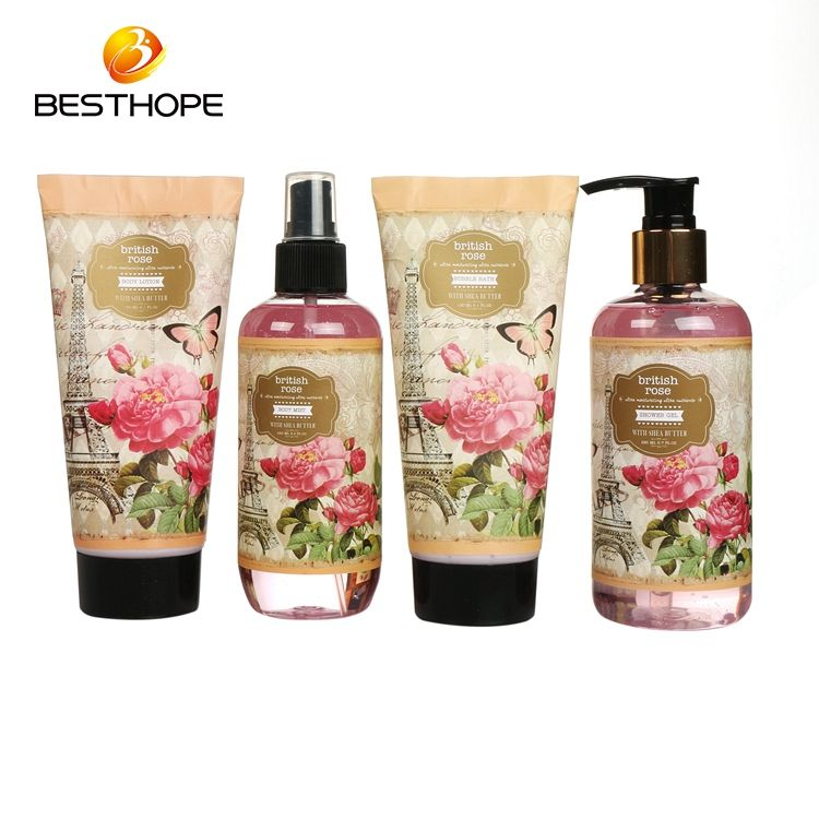 OEM rose romantic spa bath gift set , body mist and bubble bath