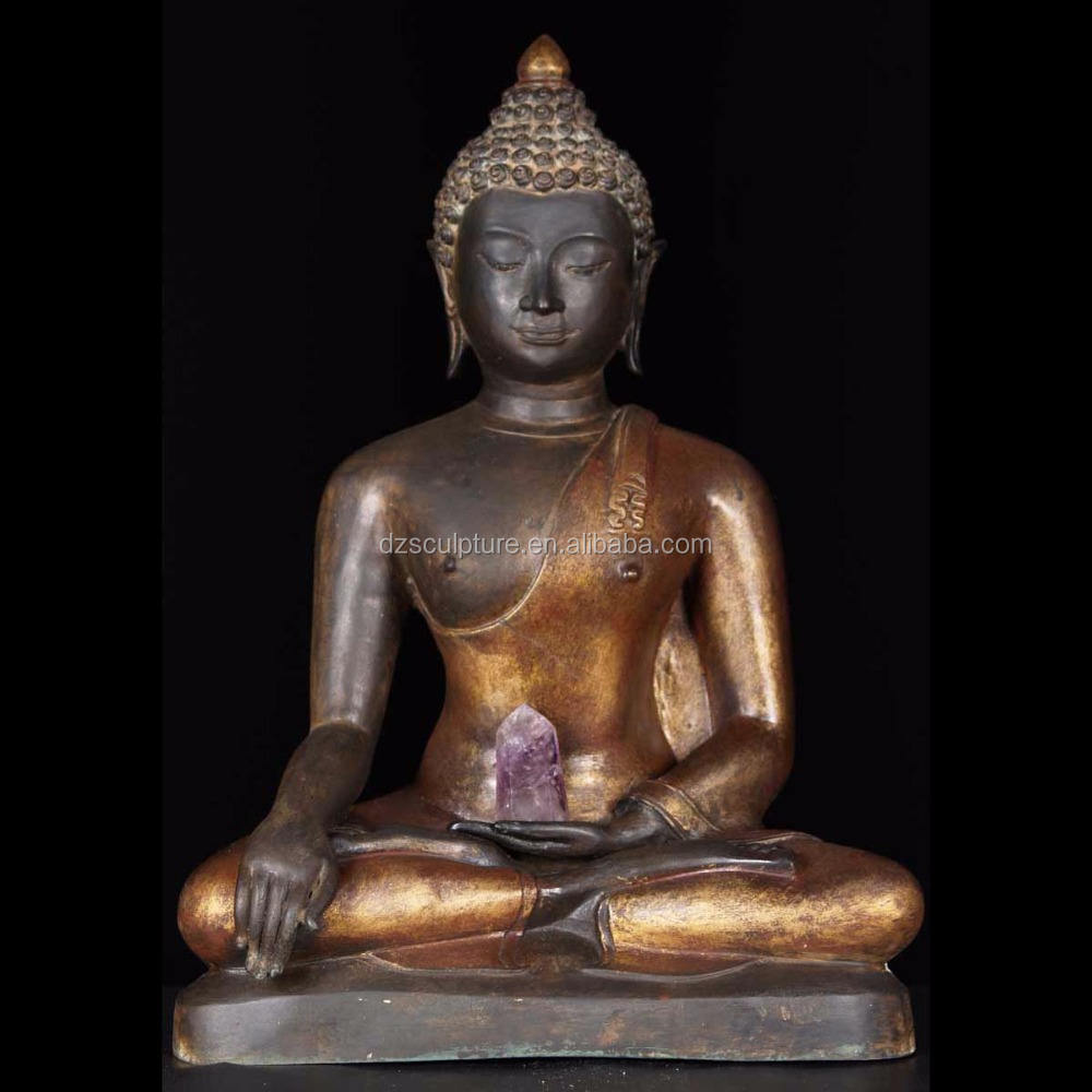 large antique sitting bronze thai buddha statue for sale